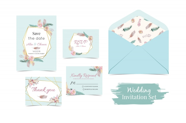 Invitación de la boda del oro verde azul de la geometría fijada con la pluma