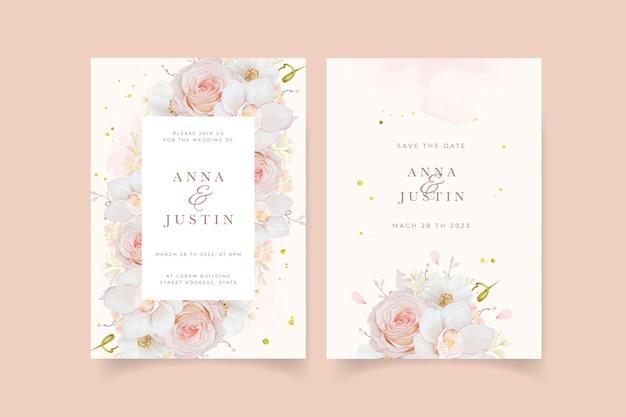 Invitación de boda con orquídea rosa acuarela rosa y flor de anémona