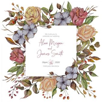 Invitación de boda otoñal con rosas y algodones