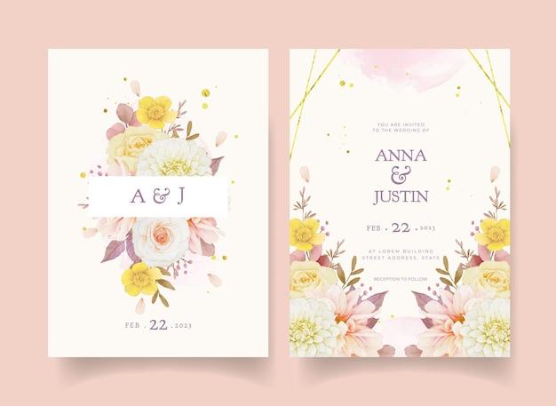 Invitación de boda de otoño de acuarela dalia y rosas