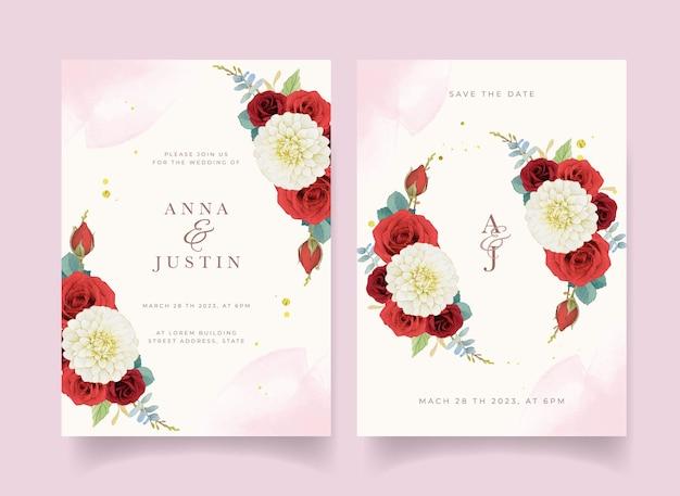 Invitación de boda de otoño de acuarela girasol dalia y rosas
