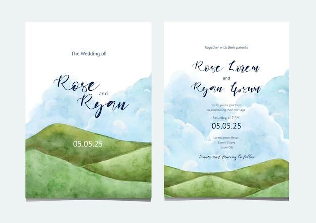 Invitación de boda con paisaje de colina verde acuarela