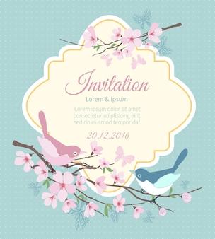 Invitación de boda con pájaros y ramas en flor. flor de primavera, floral y evento. ilustración vectorial