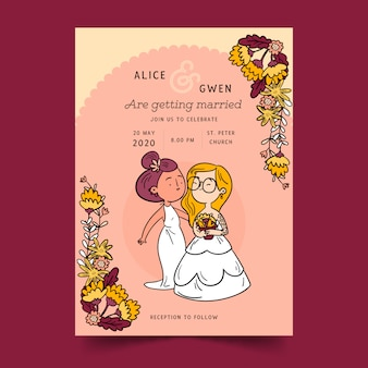 Invitación de boda con pareja de dibujos animados