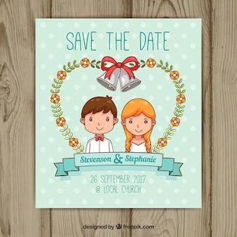 Invitación de boda con pareja feliz dibujada a mano