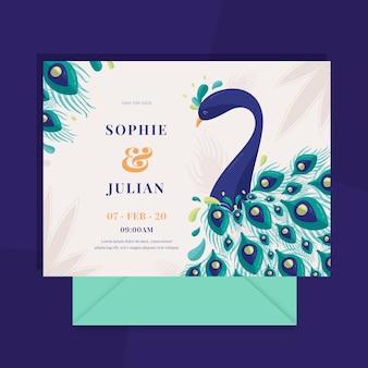 Invitación de boda de pavo real y plumas