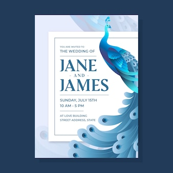 Invitación de boda de pavo real en tonos azules