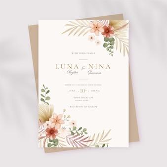Invitación de boda pintada a mano