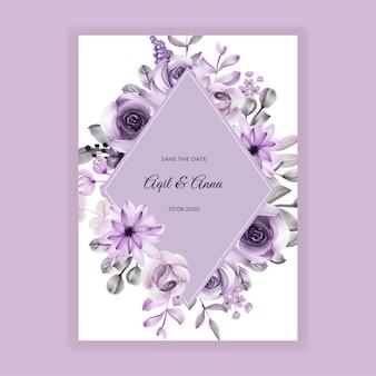 Invitación de boda pintura de acuarela flor púrpura