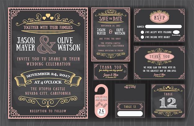 Invitación de la boda de pizarra