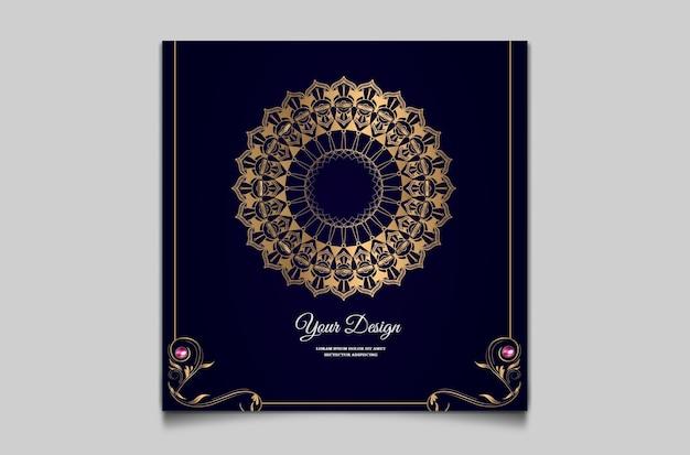 Invitación de boda con plantilla de diseño de lujo