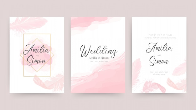 Invitación de boda y plantilla de diseño de tarjeta con hermosas plumas.