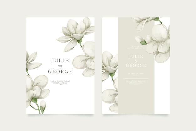 Invitación de boda de plantilla con flor grande