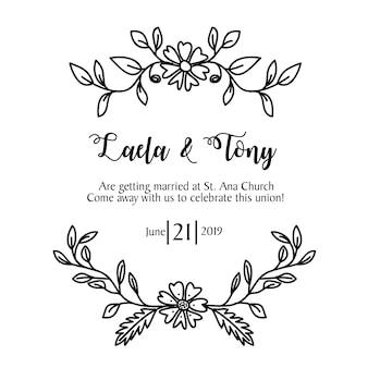 Invitación de boda plantilla de flores dibujadas a mano
