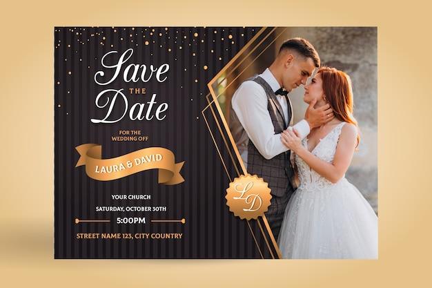 Invitación de boda de plantilla con foto