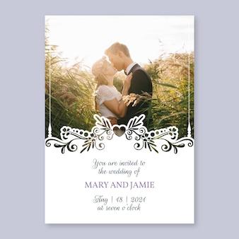Invitación de boda de plantilla con imagen