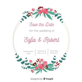 Invitación de boda con plantilla de marco floral encantador