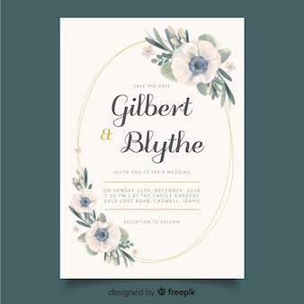 Invitación de boda con plantilla de marco floral