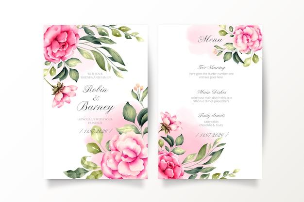 Invitación de boda y plantilla de menú con flores acuarelas