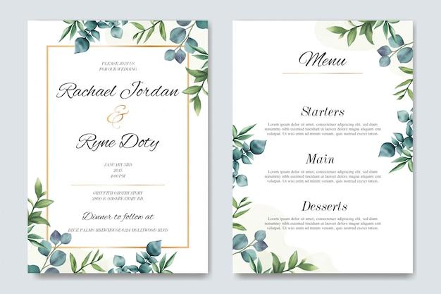 Invitación de boda y plantilla de menú con hermosas hojas