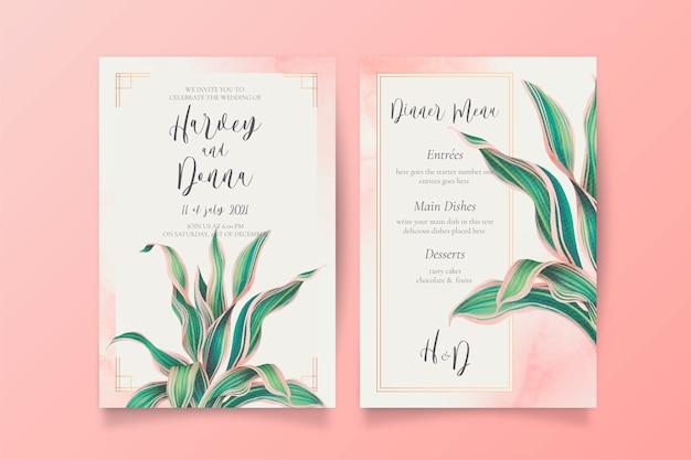 Invitación de boda y plantilla de menú con hojas encantadoras