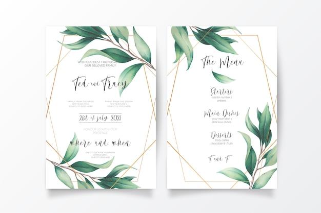 Invitación de boda y plantilla de menú con hojas silvestres