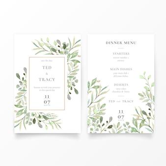 Invitación de boda y plantilla de menú con hojas verdes