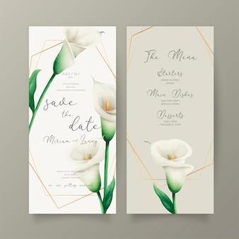Invitación de boda y plantilla de menú con lirios blancos