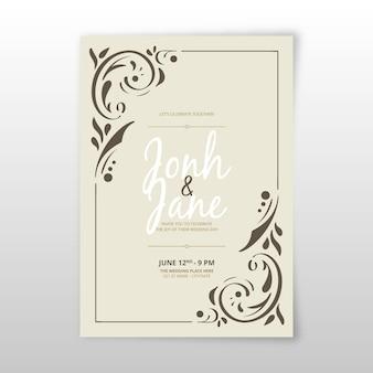 Invitación de boda plantilla ornamental retro