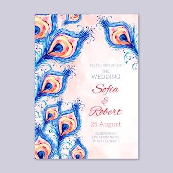 Invitación de boda con plantilla de plumas de pavo real