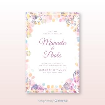 Invitación de boda de plantilla de recién casados