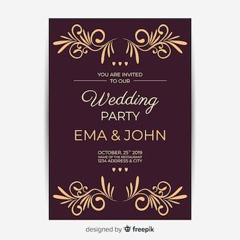 Invitación de boda con plantilla retro