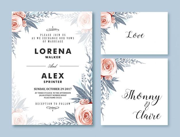 Invitación de boda plantilla de tarjeta acuarela flor
