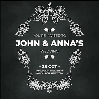 Invitación de boda plantilla vintage en pizarra