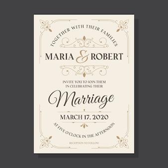 Invitación de boda plantilla vintage