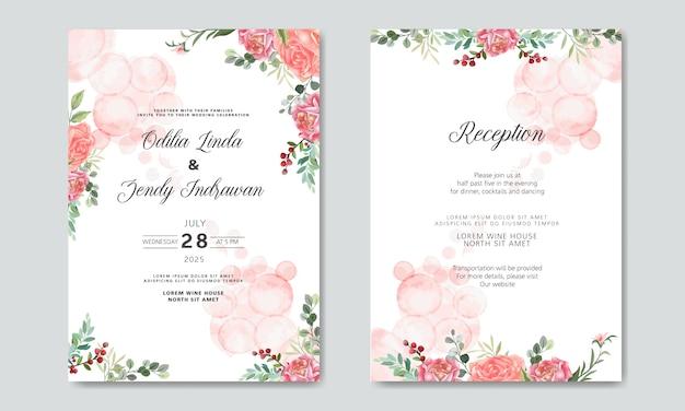 Invitación de boda con plantillas de flores hermosas y románticas