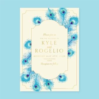 Invitación de boda con plumas de pavo real