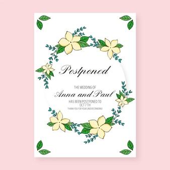 Invitación de boda pospuesta dibujada a mano