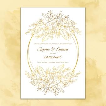 Invitación de boda pospuesta de diseño dibujado a mano