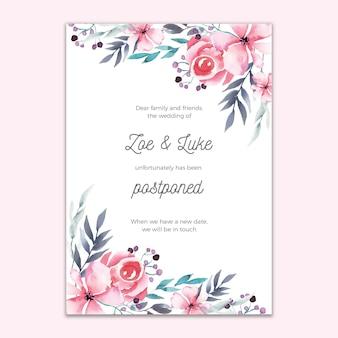 Invitación de boda pospuesta diseño floral