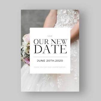 Invitación de boda pospuesta con foto