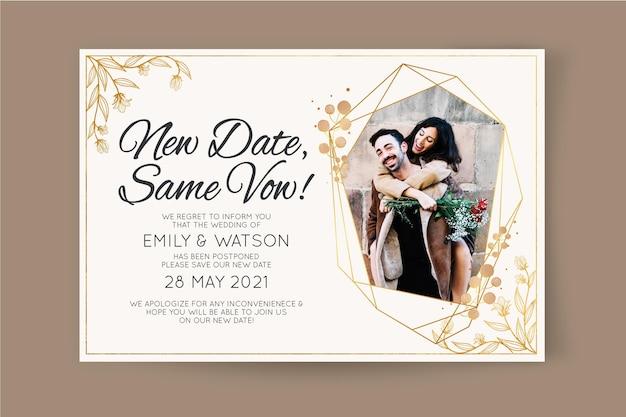 Invitación de boda pospuesta