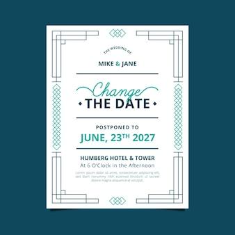Invitación de boda postergada de diseño tipográfico