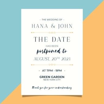 Invitación de boda postergada de estilo tipográfico