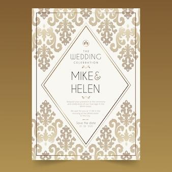 Invitación de boda preciosa damasco