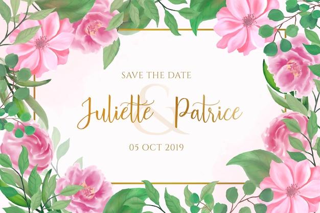 Invitación de boda preciosa con flores de acuarela