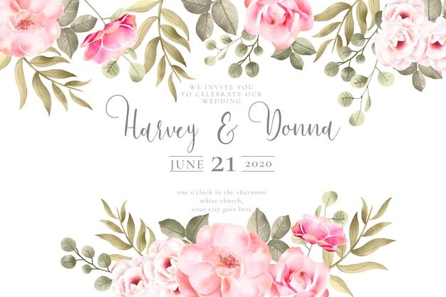 Invitación de boda con preciosas flores de acuarela