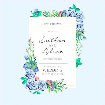 Invitación de boda con preciosas flores azules