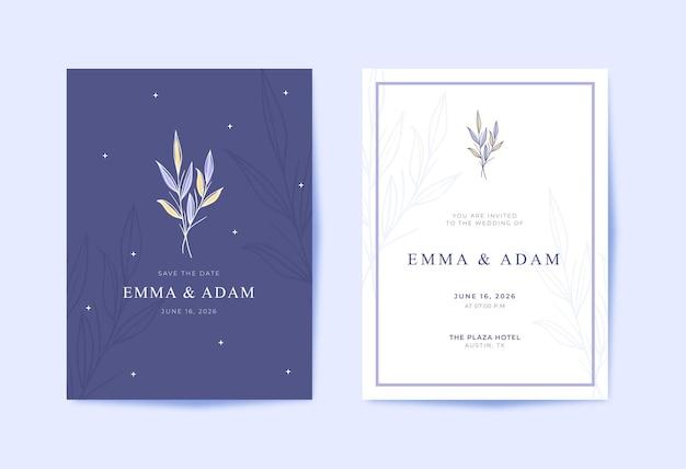 Invitación de boda púrpura hermosa y moderna