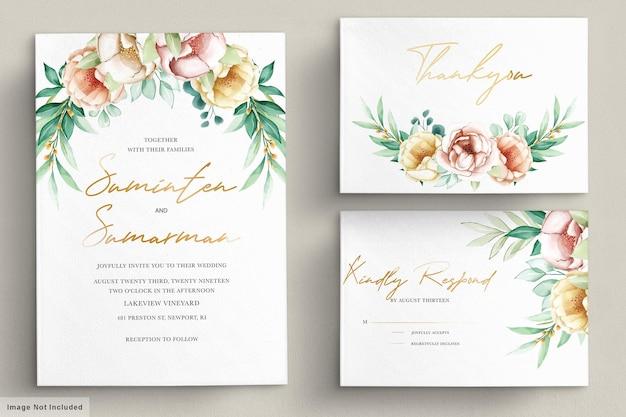 Invitación de boda con ramos de flores hermosas acuarela set